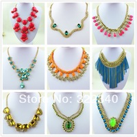 Europe USA Korean big fashion women necklace pendants candy color alloy clavicle sweater chain jewelry wholesale