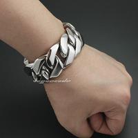Fashion charm silver Men bracelet cool thick heavy duty titanium bracelet male ornaments length
