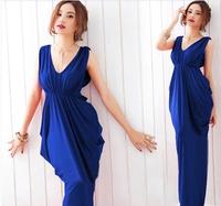 New 2014 spring summer women's V-neck bow slim long dress one-piece dress