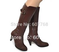 FREESHIPPING High side zipper buckle medium-leg thick heel women motorcycle boots B-P-4172