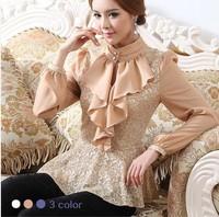 Spring long-sleeve basic lace shirts plus size top female vintage royal elegant slim waist slim shirt chiffon blouses 3colors