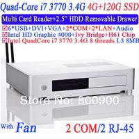 Mini ITX PC in PC Desktops with quad core i7 3770 LGA1155 3.4Ghz eight threads CPU 2 RJ45 2 COM 4G RAM 120G SSD Mini PC Station