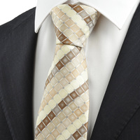Free shipping   New Ivory Beige Brown Checked Men's Tie Necktie