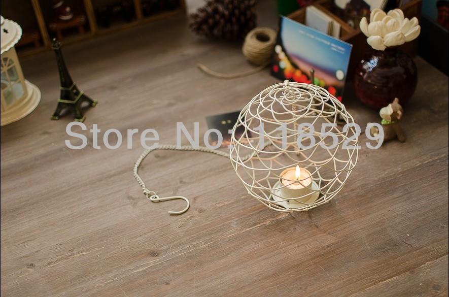 Free Shipping! Round Ball New design Candle Holder White Metal Lantern New Iron Candle Holder Christmas Gift,#41058(China (Mainland))