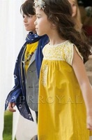 Free Shipping,1pcs/lot,2014 new arrive children dress,children brand embroidery design girl's dress,3-8year,yellow color