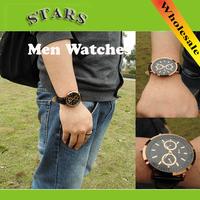2014 New Fashion leather strap luxury brand Men's watches men quartz Golden Sports Watch,Wholesale Free Shipping+Dropshipping