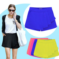 2014 New Women's Fashion Excellent Chiffon Casual Ruffles Ladies Zipped-up Shorts Pants Skorts Size S to XXL 6 Colors LBR6090