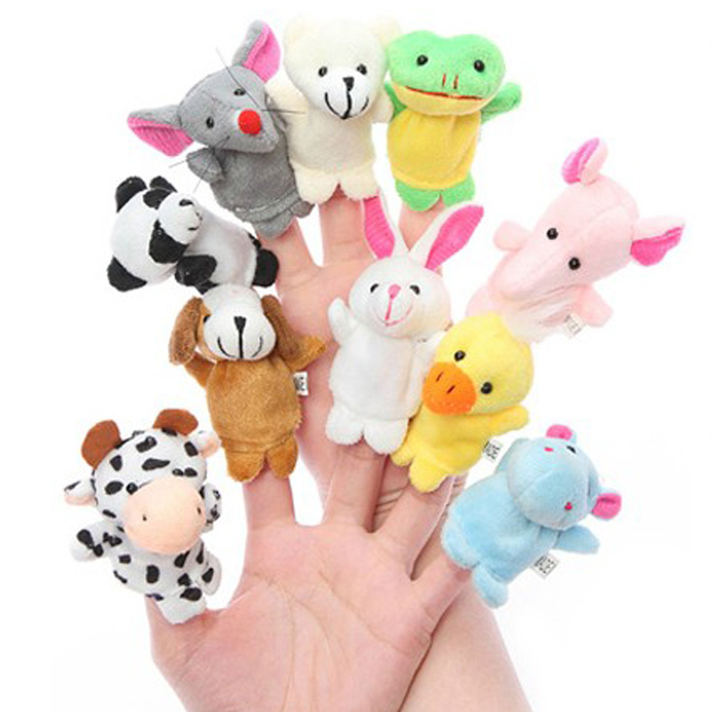 10pcs/lot Finger Puppets,Baby Plush Toy,Talking Props(10 animal group) Free Shipping(China (Mainland))