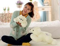 The lovely bear doll plush lying bear toy The polar bear pillow birthday gift about 35cm