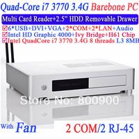 barebone mini pc computer workstation with quad core i7 3770 LGA1155 3.4Ghz eight threads CPU 2 RJ45 2 COM embedded desktop pc