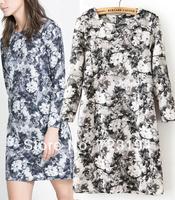 Women's 2014 spring fashion slim long-sleeve o-neck black and white flower one-piece dress female free shipping