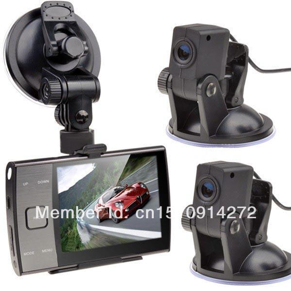 "FREE SHIPPING 3.5"" Dual Lens Separate Camera H.264 Car DVR Video Recorder Vehicle Black Box Camera(China (Mainland))"