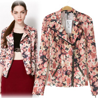 2014The European and American style  spring fashion digital print flower turn-down collar zipper jacket outerwear  free shipping