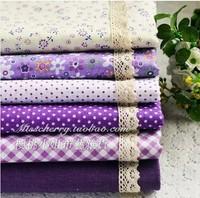 FB006 Purple Series 6pcs Floral Cotton Quilting Fabric Fat Quarters for DIY Patchwork Bedding Sewing Cloth - 22x24cm