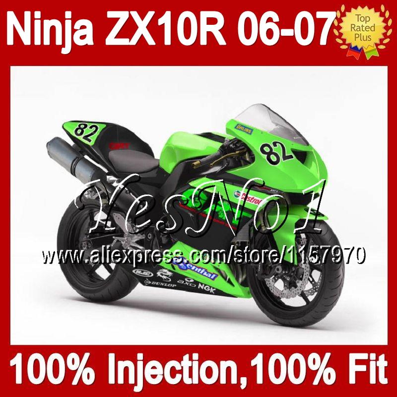 7gifts Race green black+ For KAWASAKI NINJA ZX10R 2006 2007 20#102 race ZX 10R Injection ZX-10R 10R 06-07 06 07 Fairing(China (Mainland))