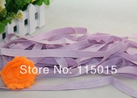 10 Yards Light Purple Glitter 1.5cm Width Fold Over Elastic for Baby Headbands, Fashion Hair Accessory Velvet FOE Free Shipping
