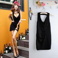 2014 new summer  black v-neck fashion Ladies sexy A-1831  sleeve asymmetrical  women   dress