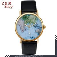 Unisex Stylish Quartz Analog Watch with Leather Strap World Earth Map Women Hour wrist watch Ladies reloj vintage relogios gold