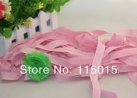 10 Yards Light Pink Glitter 1.5cm Width Fold Over Elastic for Hair Headbands, Hair Accessory Glitter FOE Free Shipping
