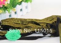 10 Yards Black+Gold Silk 5/8 inch FOE Glitter Fold Over Elastic for Baby Hair Headbands, Elastic Hair Accessory Free Shipping