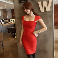 Free shipping ladies dress evening dress new summe Bqueen Red Boatneck Dress H009R