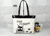 Canvas Daily Shopping Soft Sling Shoulder Bag Tote Purse Foldable Women Ladies Girl Handbag Casual Animal Cat Print Cartoon