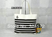 New Fashion Big Capacity strip Print Women Casual Canvas Handbag  Black/red/blue Shoulder Bags Beach Bag Mommy bag Shopping Bags
