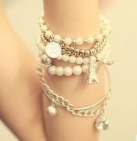3pcs Womens Unique Jewelry Gold Metal Pearl Multilayer Pendant bracelets & bangles  A2101