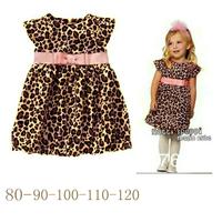 new2014girl print dress brand,Fashion wild leopard print short-sleeve dress,clothing set 1set/lot free shipping