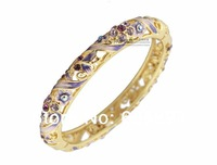 Unique Hollow Austrian Crystal Rhinestone Plated 18k Gold Flowers Bracelet Cloisonne Enamel Colorful Brand Bangle Women Gifts