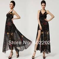 New 2014 Summer Women Fashion Sexy Deep V-neck Star Printed Backless Expansion Bottom Full Casual Dress Plus Beach wear XXL