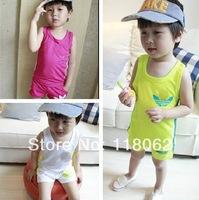 Retail children shampooers tracksuit Girls Boys cute vest+short pants kids summer clothing set children sweet tracksuits