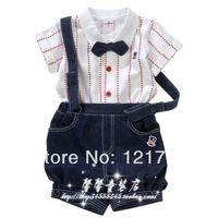 2014new baby boy clothing Gown collar short-sleeve cardigan bib pants twinset ,1set/lot free shipping