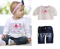 Embroidered long-sleeve T-shirt jeans denim set long-sleeve set ,kids down & parkas,1set/lot free shipping
