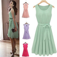 2014 New Summer Party MINI Dress Elegant Pleated Chiffon Party Dress Sleeveless With Belt Green,Pink,Rose Red,Purple S,M,X,XL