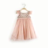 Girls dress  2014  Summer  New pattern  Kids  Sequins  Camisole  Gauze  Party  Dresses   5pcs/lot  Children's clothing wholesale