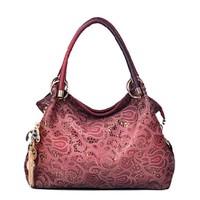 Free shipping Pink purple grey red fashion hollow tassel women shoulder bag totes handbag 4 solor