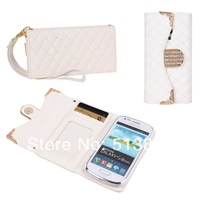 High Quality Luxury PU Leather Wallet Design Case For Samsung S3 mini 8190 + Free Shipping