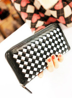 2014 New Fashion knitted 2013 check wallet zipper soft long design women's brief card holder mobile phone bag  Clutch tote bags