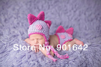 1 Set Retail crochet Newborn Baby Girl  Dinosaur Hat and Diaper Cover Set Purple Hot Pink Photo Props Baby outfit Free Shipping