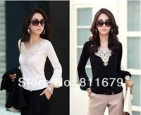 New women's casual slim shirt lace lantern sleeve v-neck blouses tops for black white color