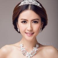 Necklace Earrings With Tiara Flower Wedding Jewelry Bridal Jewelry Set