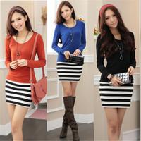 Spring 2014 Hot Sale Casual Dress Stripe  Summer Dress,Women Dress,fashion women 2014 clothes winter dress