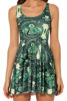 Free Shipping THE DOLLAR Reversible Skater Dress for Women 2014 Fashion Women's Black Milk Girl Dress