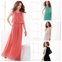 Exclusive! S - XXXL! 4 Colors, 2014 New Hot Sale Women High Quality Pleated Bohemia Maxi Long Chiffon Dress,Y3159