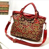 Free shipping fashion vintage lace hollow skull women totes messenger bag shoulder pu leather handbag black blue red 3 color