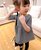 Spring 2014 wholesale children's clothing girls dress Western style small plaid doll dress 2-8 years old free shipping