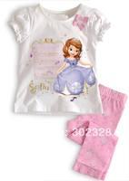 Retail Princess Sofia Design Sweet Girls Clothing Set White T Shirt +Pink Pants Clothing Sets Pyjamas Set 2-7Y