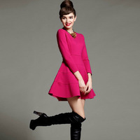 2014 New European & American Style Retro Hepburn Fashion O-neck Elastic Cotton Party Dresses Women Slim Long Sleeve S-L 1385#