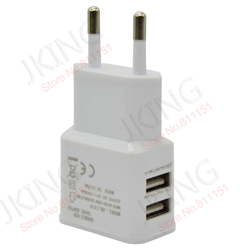 2 port Dual 2A USB EU Plug Wall Charger For iPhone 4S 5 for iPad 4 Mini for SAMSUNG S4 S3 for HTC One Nexus 4 Free Shipping(China (Mainland))